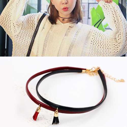 Leather Belt Short Collar Cord Tassel Collar Necklaces