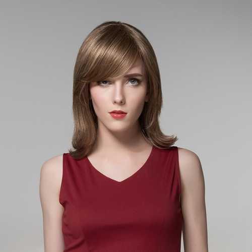 8 Colors Side Bang Fluffy Virgin Human Hair Medium Wigs Remy Mono Top Capless