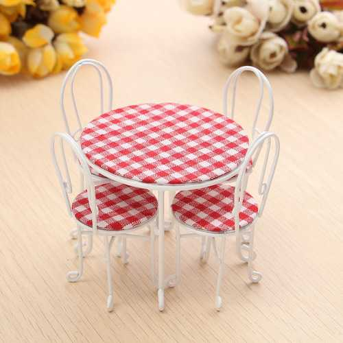 1/12 Scale Dining Table Chair Set Dollhouse Miniature Furniture Accessories For Dollhouse