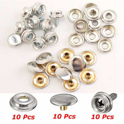 10Set Stainless Steel 3/8 Inch Boat Cover Canopy Fittings Fastener Snap Kit with Tools