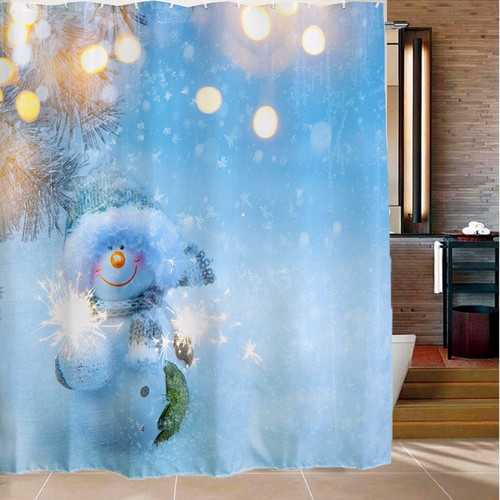180x180cm Snowman Pattern Waterproof Polyester Shower Curtain Bathroom Decor with 12 Hooks