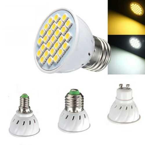 E14 E27 GU10 MR16 4W LED Bulbs SMD 5050 Pure White Warm White Spot Lightt Bulbs 320LM AC110 AC220V