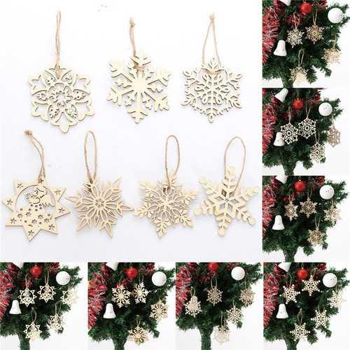 10PCS Wood Snowflake Leaf Shaped Christmas Tree Hanging Ornament Decoration