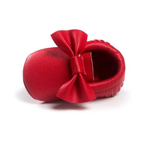 Baby Bowknot Tassel Pure Color Breathable Soft Sole First Walking Shoes