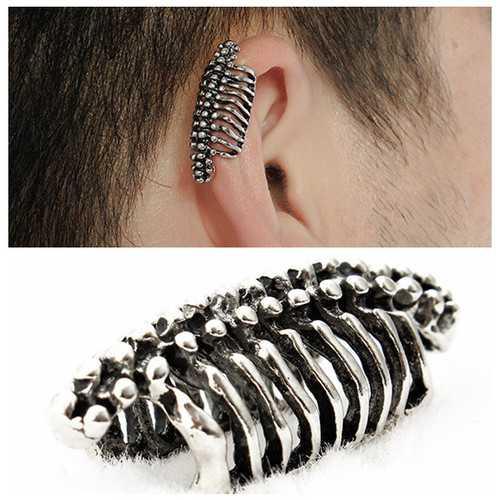 Unisex 1PC Punk Skull Spine Bone Non Pierced Ear Clips Earring