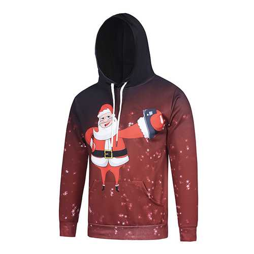 Christmas Santa Claus Selfie 3D Starry Sky Hooded KUSO Digital Printing Pull-over