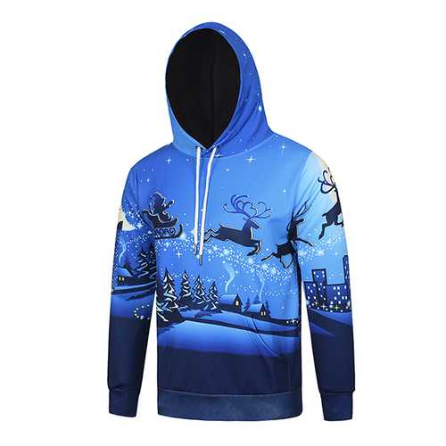3D Christmas Deer Santa Ride Printing Hoodie Mens Casual Lovers Pullover Hoodies