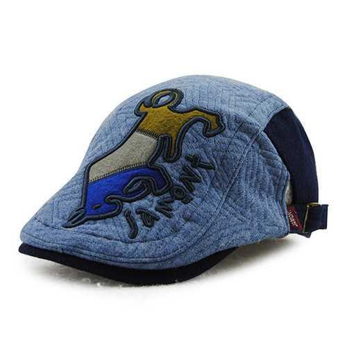 Child Boys Girls Cotton Peaked Beret Cap Animal Pattern Winter Warm Sun Baseball Hat