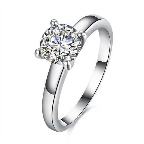 INALIS Zircon Platinum Plated Engagement Wedding Rings
