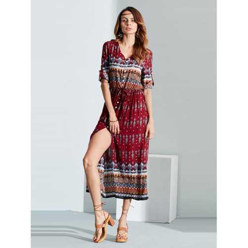 Bohemian Floral Print Long Maxi Dresses