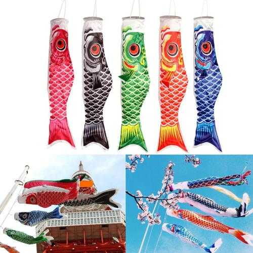 100cm Koi Nobori Carp Wind Sock Koinobori Fish Kite Flag Hanging Decor