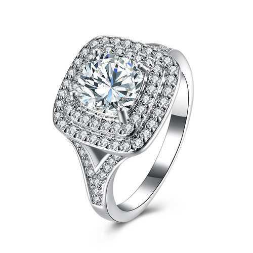 INALIS Zircon Platinum Anniversary Gift Wedding Finger Rings