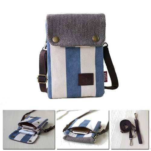 Multi-layer Canvas Adjustable Belt Messenger Bag Phone Wallet Handbag for Phone Under 6-inch