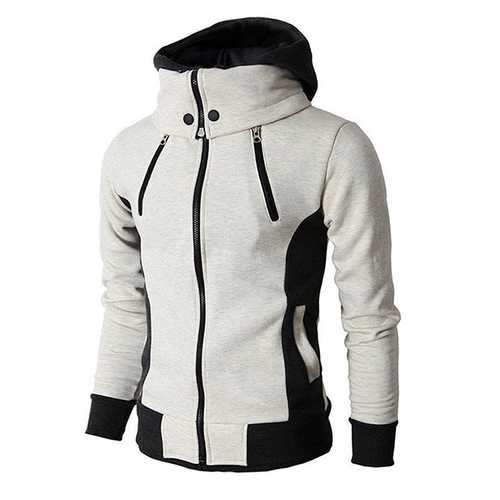 Cotton Stitching Color Tops Zipper Sweatshirts