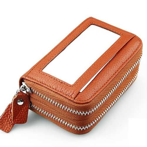 Genuine Leather RFID Double Zipper 11 Card Holder Anti Theft Coin Bags Short Purse