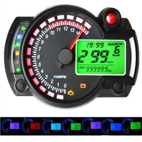 12V 15000RPM Motorcycle Speedometer Odometer Adjustable Waterproof LCD Digital