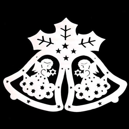 2 Pcs Merry Christmas Angle Jingle Bell Wall Sticker For Baby Bedroom Christmas Decor Window Decal