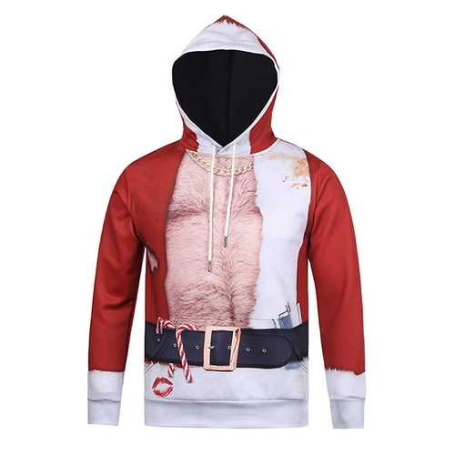 Christmas 3D Santa Printing Spoof Pattern Front Pocket Casual Sport Hoodies Tops
