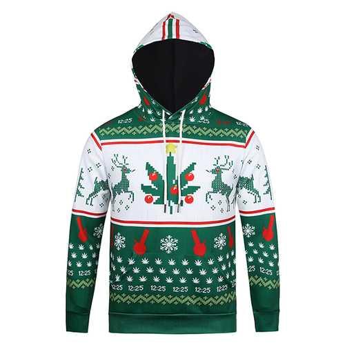 Christmas EIK Snowflake Printing Front Pockets Tops Casual Sport Hoodies
