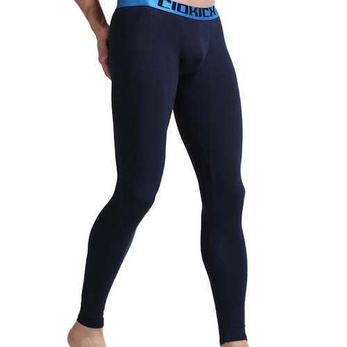 Mens Cotton Slim Fit U-shaped Convex Pouch Warm Thermal Long Underwear Sleepwear
