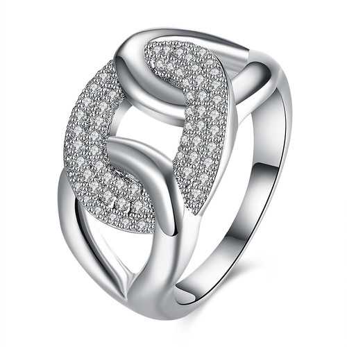 INALIS Zircon Across Platinum Gift Party Wedding Finger Rings