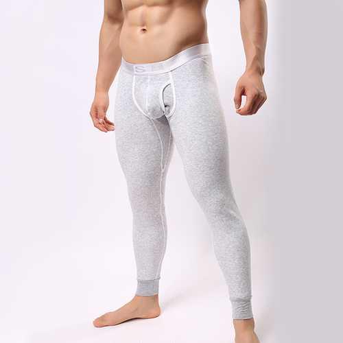 Mens Fleece Plus Thick Warm Bottoming Thermal Long John Pants