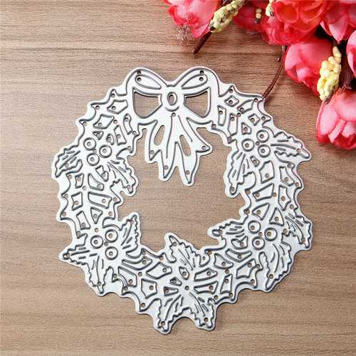 Christmas Wreath Metal Die Cutting DIY Scrapbook Photo Paper Gift Party Decor