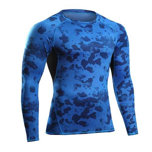 Camouflage Fitness jogging T-shirts Training Suit Elastic Compression Speed Dry Long Sleeved Tights