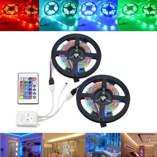 10M SMD2835 Non-Waterproof 600 LED RGB Strip Flexible Tape Light Kit + 24 Keys Controller DC12V