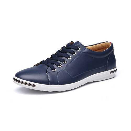 Men Lace Up Pure Color Round Toe Flat Oxfords Shoes