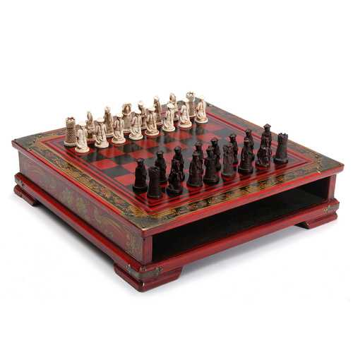 32Pcs/Set Resin Chinese Chess With Coffee Wooden Table Vintage Collectibles Gift