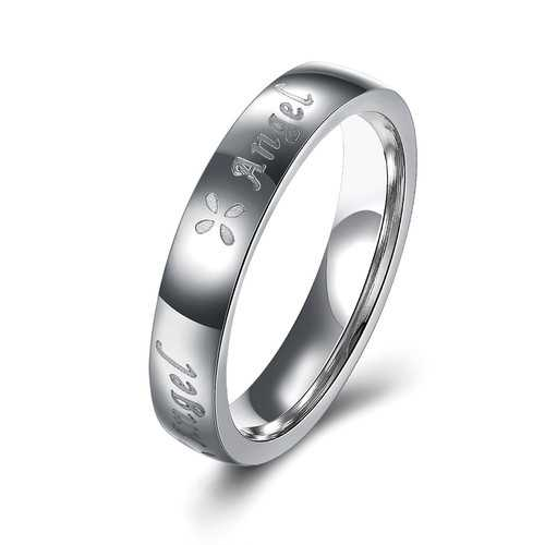 Angel Silver Stainless Steel Couple Lover Birthday Gift Ring Women Men Jewelry