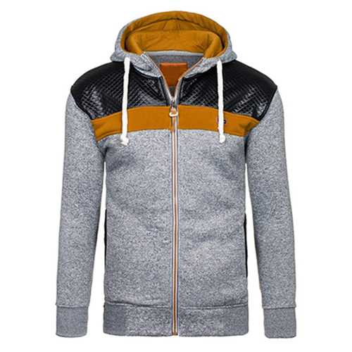 Fashion Mens Cardigan Hoodie Sweaters Casual Splicing Zipper Sport Hoodies