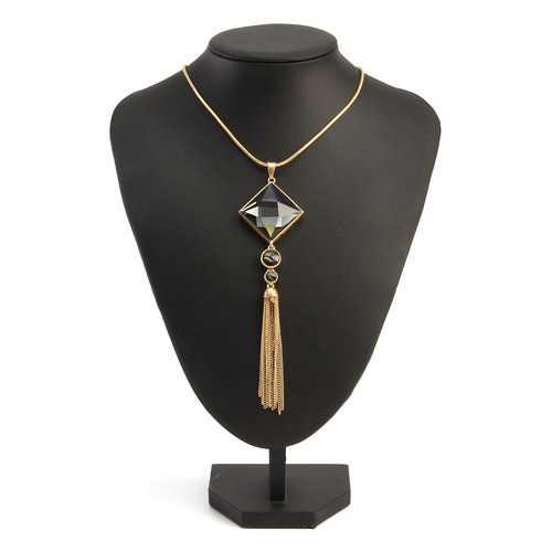 Vintage 18K Gold Tassels Long Crystal Pendant Punk Necklaces