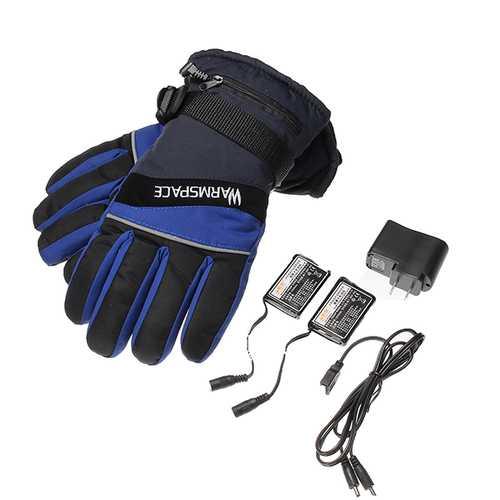 3.7V 2000MAh Waterproof Li-ion Battery Electric Heating Gloves For Motorcycle Biker Skiing