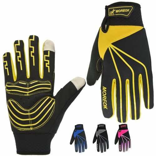 MOREOK Winter Windproof Full Finger Touch Screen Mountain Bike Gloves Anti-slip Men Women Bike Gloves