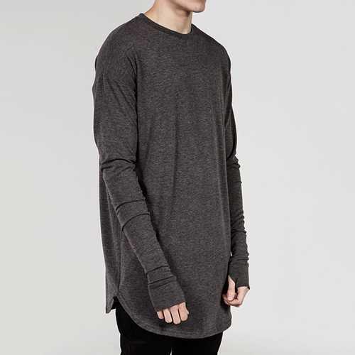 Hip-hop Street wears T-shirt Lengthen Gloves Long Sleeve T-shirt Unisex Black White Cotton Tees