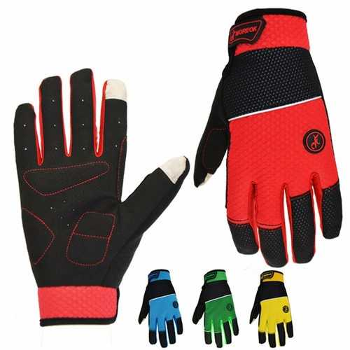 MOREOK Warm Cycling Winter Gloves with Touch Screen Full Finger Mountain Bike Gloves Road Racing Bicycle Gloves Light Silicone Gel Pad Men Women Work Gloves