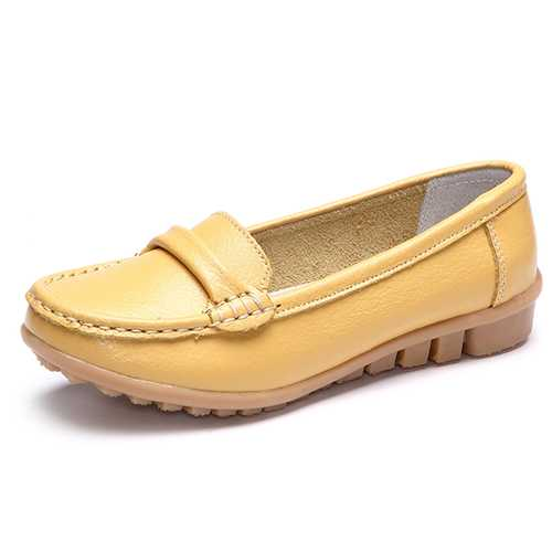 Casual Round Toe Slip On Soft Leather Pure Color Flat Shoes