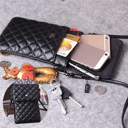 Universal 6 Inches Mini PU Double-deck Wallet Shoulder Bag For iPhone Xiaomi Huawei Samsung