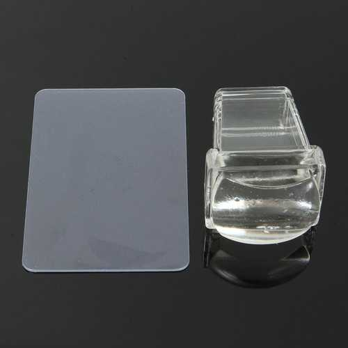 Clear Soft Silicone Nail Stamping Template Printer Set Scraper Image Plate Transfer Tools DIY Design