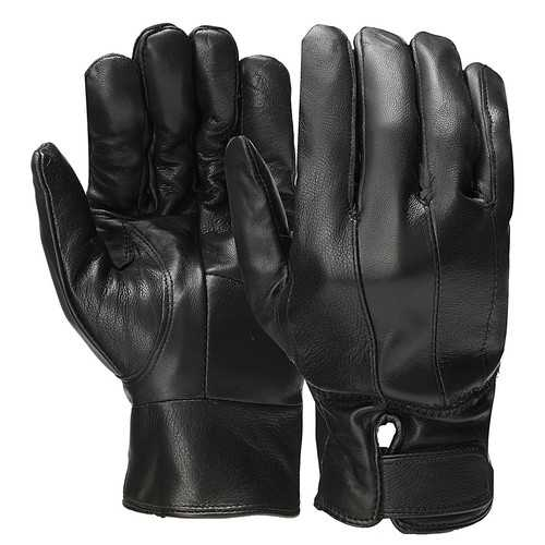 Men Leather Full Finger Gloves Winter Warm Motorcycle Driving Black Waterproof