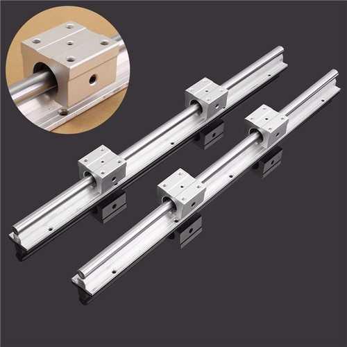 2pcs SBR12 475mm Linear Rail Fully Supported Shaft Rod With 4pcs SBR12UU Block