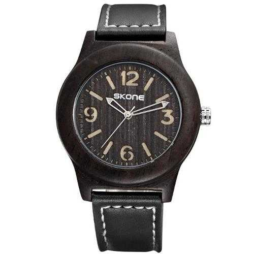 SKONE 3842 Fashion Men Quartz Watch Casual Leather Strap Wooden Wristwatch
