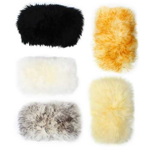 30cmx15cm Sheepskin Car Central Arm Rest Box Cushion Universal