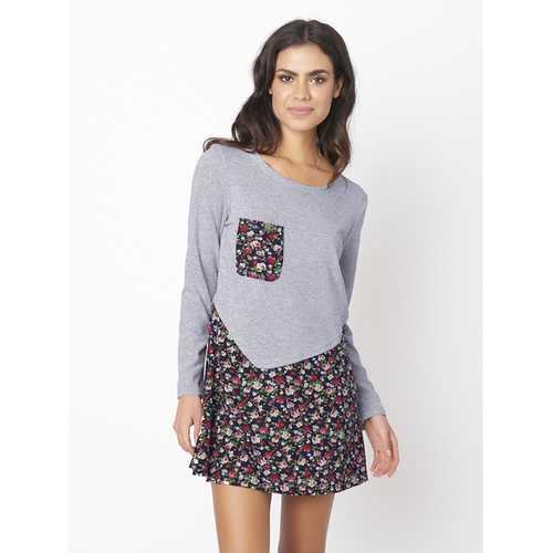 Casual Floral Patchwork Long Sleeve Women T-shirt Dress