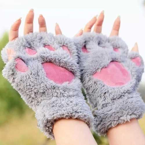 Women Girls Fluffy Plush Bear Cat Paw Fingerless Gloves  Paw Glove Winter Warm Mittens