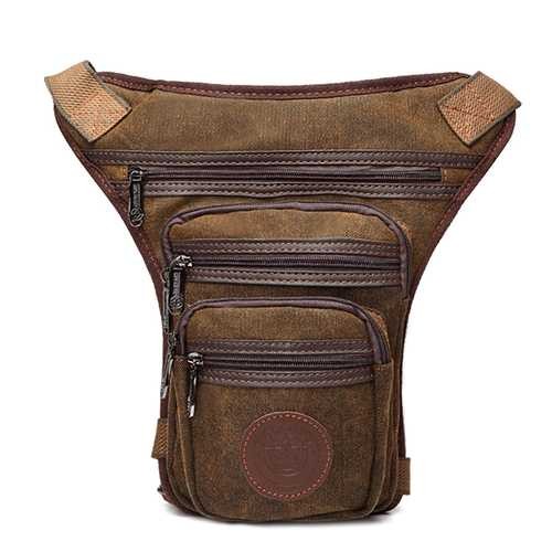 Cell Phone Pocket Solid Canvas Leg Bag Vintage Casual Waist Bag For Men