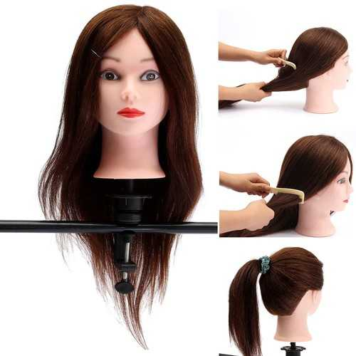 "20"" Brown 90% Human Hair Hairdressing Training Head Mannequin Model Braiding Practice Salon Clamp"