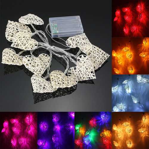 10 LED Rattan Heart String Fairy Lights Lamp Party Home Bedroom Xmas Wedding Decor